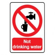 Prohibition safety sign - No Drinking Water 123